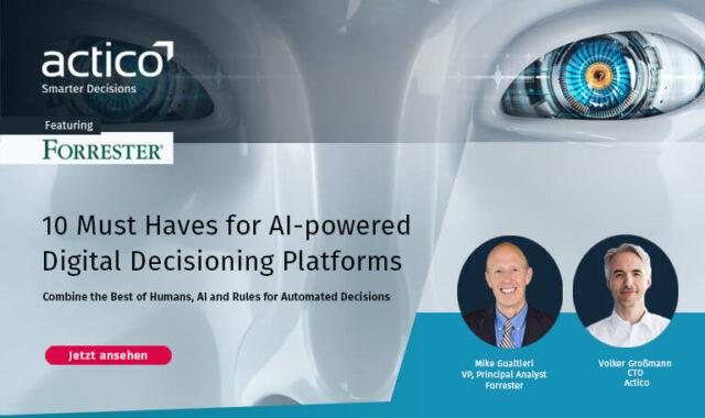 Forrester Live Webinar: 10 wichtige Voraussetzungen für KI-gestützte digitale Entscheidungsplattformen